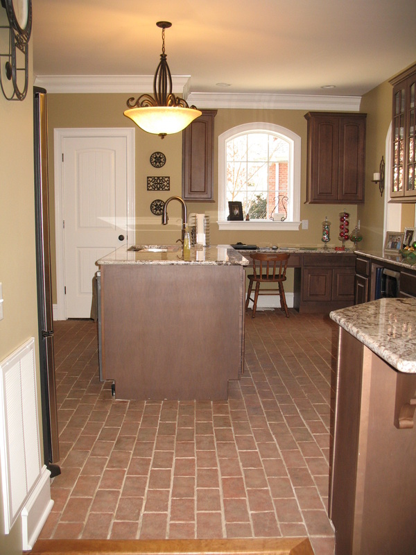 kitchen with brick floor - photo #6