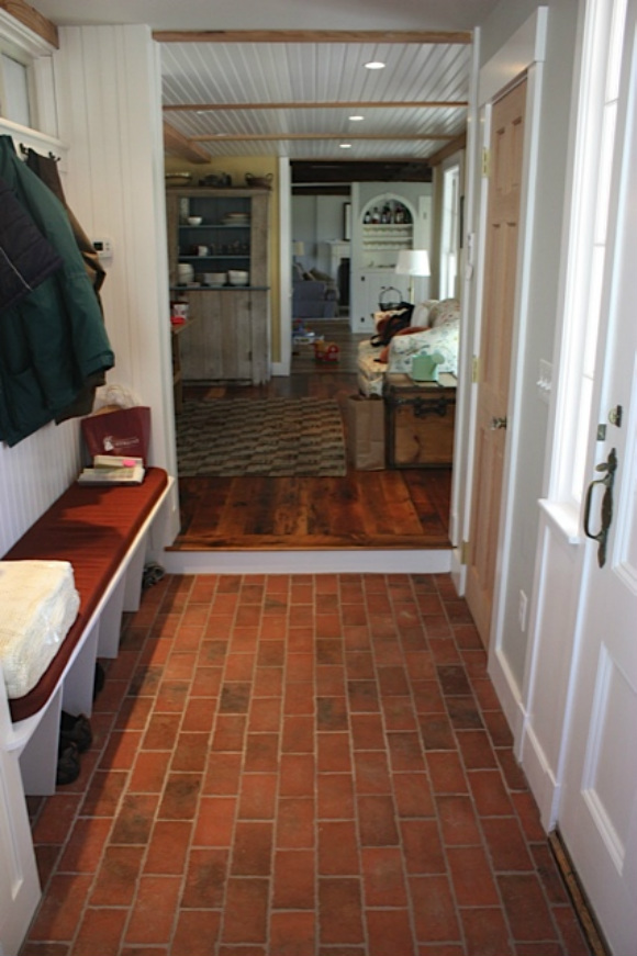 Picture traditional mudroom brick tile floor