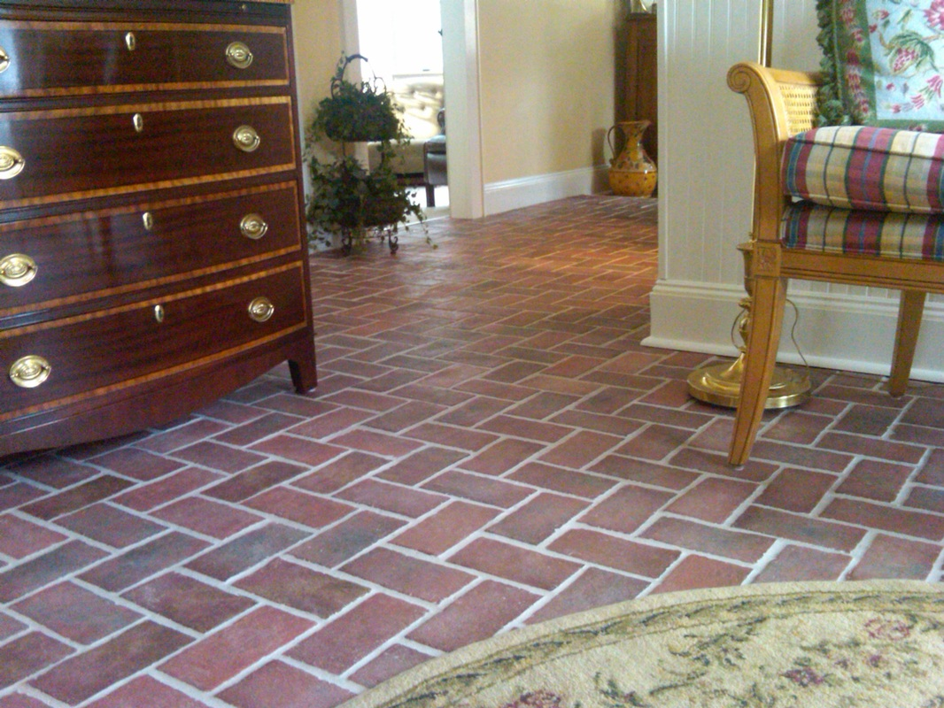 Brick tiles for floor in living room