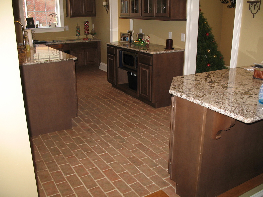 Kitchens inglenook brick tiles brick pavers thin for Tiling kitchen floor