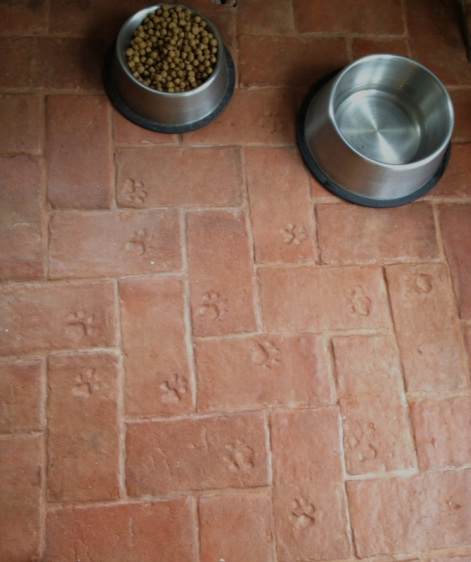 Thin brick floor tile with stamped paw prints
