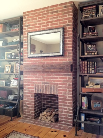 Thin brick tile fireplace picture