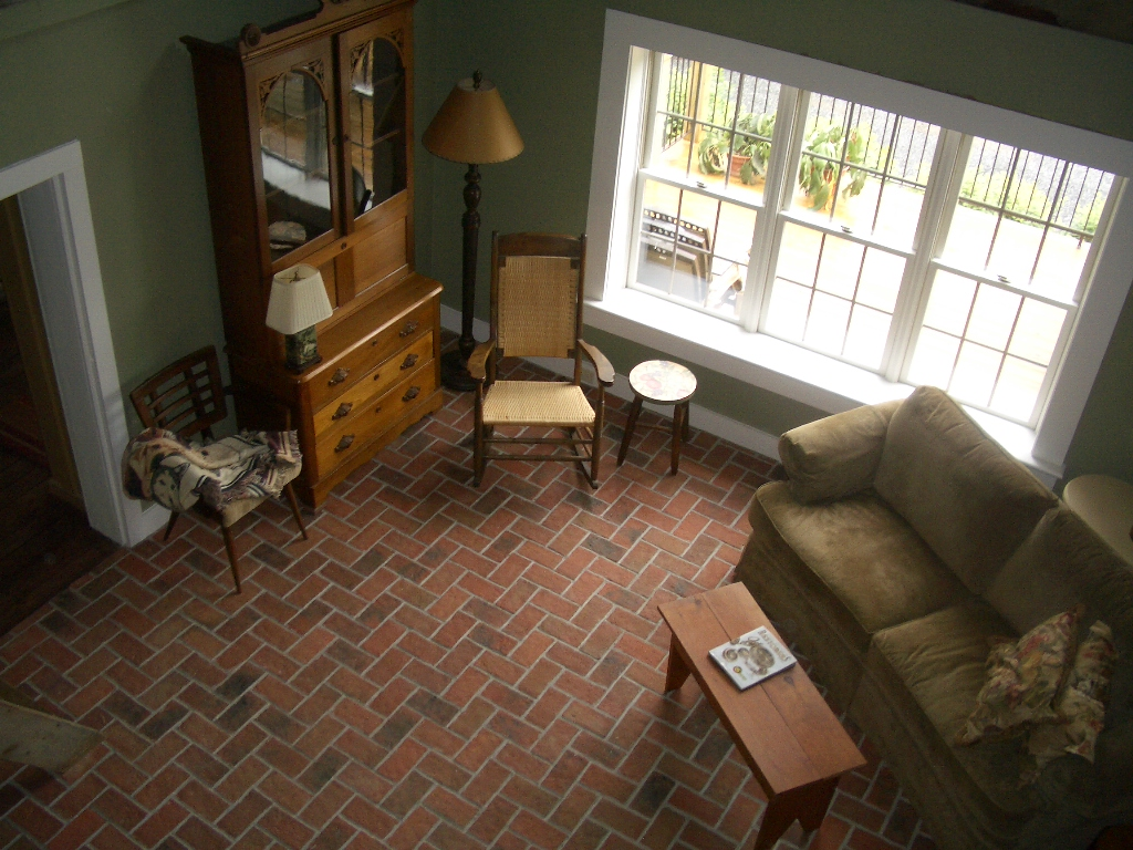 Thin Brick Floor Tile In Living Room