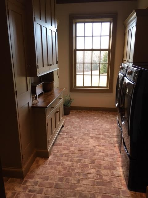 Picture rustic white brick tile floor laundry room